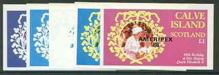 Calve Island 1986 Queen's 60th Birthday imperf souvenir sheet (\A31 value) with AMERIPEX opt in black, set of 5 progressive proofs comprising single & various composite combinations  unmounted mint