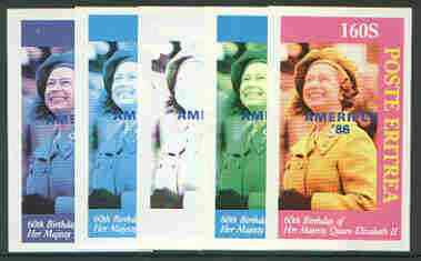 Eritrea 1986 Queen's 60th Birthday imperf souvenir sheet (160s value) with AMERIPEX opt in blue, set of 5 progressive proofs comprising single & various composite combinations