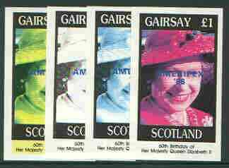 Gairsay 1986 Queen's 60th Birthday imperf souvenir sheet (\A31 value) with AMERIPEX opt in blue, set of 4 progressive proofs comprising single & various composite combinations unmounted mint, stamps on royalty, stamps on 60th birthday, stamps on stamp exhibitions