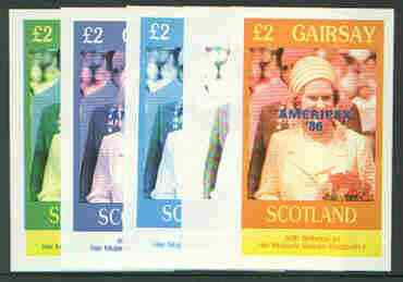 Gairsay 1986 Queen's 60th Birthday imperf deluxe sheet (\A32 value) with AMERIPEX opt in blue, set of 5 progressive proofs comprising single & various composite combinations unmounted mint