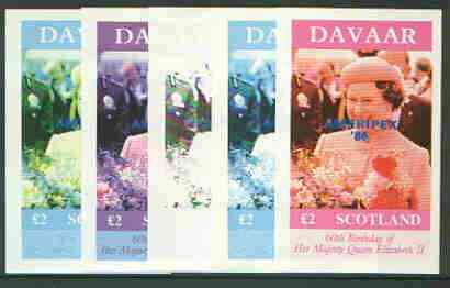 Davaar Island 1986 Queen's 60th Birthday imperf deluxe sheet (\A32 value) with AMERIPEX opt in blue, set of 5 progressive proofs comprising single & various composite combinations unmounted mint