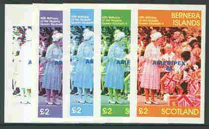 Bernera 1986 Queen's 60th Birthday imperf deluxe sheet (\A32 value) with AMERIPEX opt in blue, set of 5 progressive proofs comprising single & various composite combinations unmounted mint