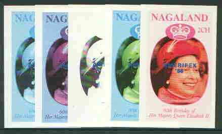 Nagaland 1986 Queen's 60th Birthday imperf deluxe sheet (2Ch value) with AMERIPEX opt in blue, set of 5 progressive proofs comprising single & various composite combinations unmounted mint