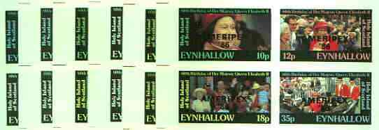 Eynhallow 1986 Queen's 60th Birthday imperf sheetlet containing set of 4 values each opt'd AMERIPEX '86 in black - the set of 6 progressive proofs comprising single & various composite combinations incl completed design (24 proofs) unmounted mint