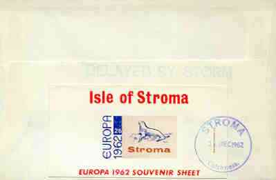 Stroma 1962 Europa imperf m/sheet 2s6d (Seal) on reverse of cover to London which bears the normal 3d UK inland rate.  Mini sheet endorsed with a feint