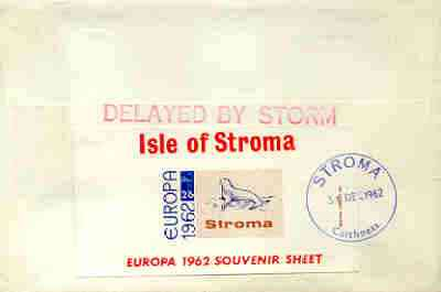 Stroma 1962 Europa imperf m/sheet 2s6d (Seal) on reverse of cover to London which bears the normal 3d UK inland rate.  Mini sheet endorsed with