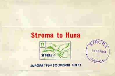 Stroma 1964 Europa imperf m/sheet 2s6d (Herring Gull) on reverse of cover to London which bears the normal 3d UK inland rate. Note: I have several of these covers so the one you receive may be slightly different to the one illustrated