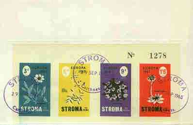 Stroma 1965 Europa (Flowers) imperf sheetlet containing set of 4 on reverse of cover to London which bears the normal 4d UK inland rate. Note: I have several of these cov...