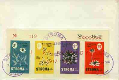Stroma 1965 Europa (Flowers) imperf sheetlet containing set of 4 opt