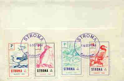 Stroma 1964 Europa (Birds) perf set of 4 on reverse of cover to London which bears the normal 3d UK inland rate. Note: I have several of these covers so the one you receive may be slightly different to the one illustrated