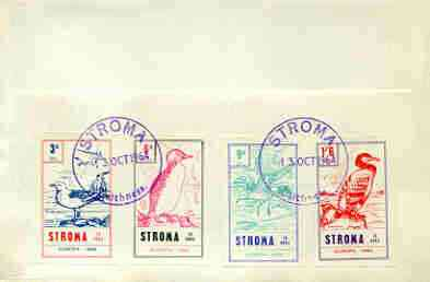 Stroma 1964 Europa (Birds) imperf set of 4 on reverse of cover to London which bears the normal 3d UK inland rate. Note: I have several of these covers so the one you rec...