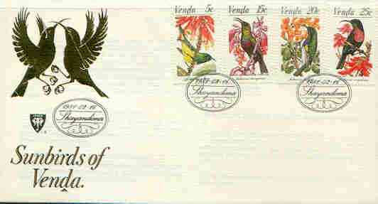 Venda 1981 Sunbirds set of 4 on illustrated cover with first day cancels, SG 38-41