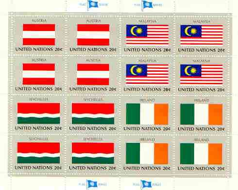 United Nations (NY) 1982 Flags of Member Nations #3 sheetlet of 16 containing flags of Austria, Malaysia, Seychelles & Ireland each in blocks of 4 unmounted mint, SG 386a