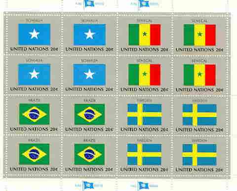 United Nations (NY) 1983 Flags of Member Nations #4 sheetlet of 16 containing flags of Somalia, Senegal, Brazil & Sweden each in blocks of 4 unmounted mint, SG 423a