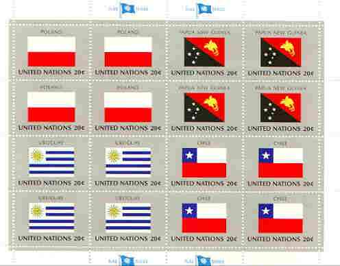 United Nations (NY) 1984 Flags of Member Nations #5 sheetlet of 16 containing flags of Poland, Papua New Guinea, Uruguay & Chile each in blocks of 4 unmounted mint, SG 44...
