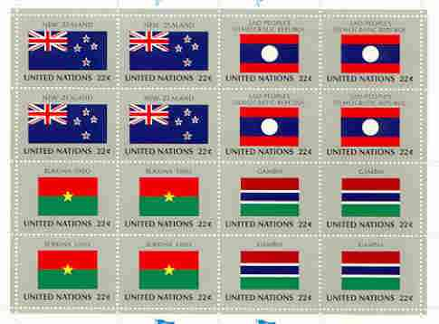 United Nations (NY) 1986 Flags of Member Nations #7 sheetlet of 16 containing flags of New Zealand, Laos, Burkina Faso & Gambia each in blocks of 4 unmounted mint, SG 489a