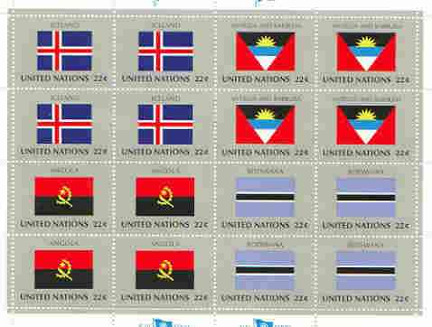 United Nations (NY) 1986 Flags of Member Nations #7 sheetlet of 16 containing flags of Iceland, Antigua and Barbuda,Angola & Botswana each in blocks of 4 unmounted mint, SG 497a