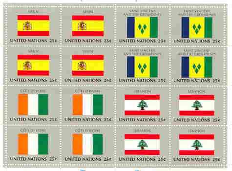 United Nations (NY) 1988 Flags of Member Nations #9 sheetlet of 16 containing flags of Spain, St Vincent, Ivory Coast & Lebanon each in blocks of 4 unmounted mint, SG 540a