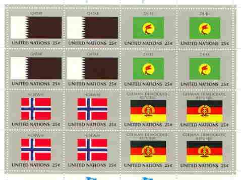 United Nations (NY) 1988 Flags of Member Nations #9 sheetlet of 16 containing flags of Qatar, Zaire, Norwar & Germany (Dem Rep) each in blocks of 4 unmounted mint, SG 548...