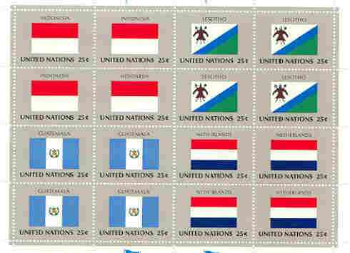 United Nations (NY) 1989 Flags of Member Nations #10 sheetlet of 16 containing flags of Indonesia, Lesotho, Guatemala & Netherlands each in blocks of 4 unmounted mint, SG 566a