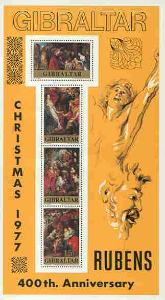 Gibraltar 1977 Christmas & 400th Birth Anniversary of Rubens m/sheet unmounted mint, SG MS 397, stamps on , stamps on  stamps on christmas, stamps on arts, stamps on rubens, stamps on  stamps on renaissance