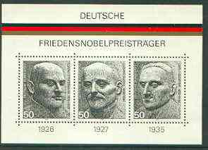 Germany - West 1975 Nobel Peace Prize Winners perf m/sheet unmounted mint, SG MS 1767, stamps on personalities, stamps on nobel, stamps on newspapers