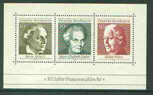Germany - West 1969 Women's Suffrage perf m/sheet unmounted mint, SG MS 1499