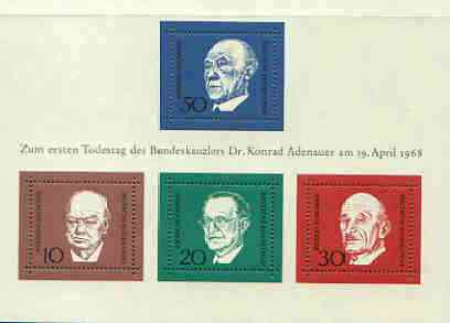 Germany - West 1968 Ardenauer Commemoration (1st issue) m/sheet unmounted mint, SG MS 1459