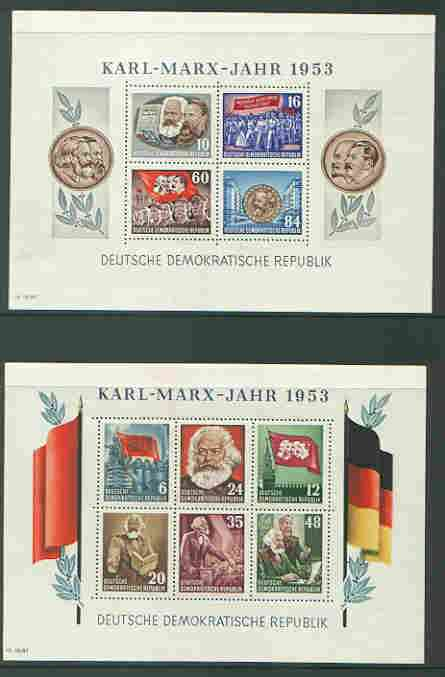 Germany - East 1953 Death Anniversary of Karl Marx set of 2 perf m/sheets unmounted mint, SG MS E111a
