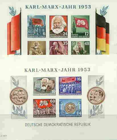 Germany - East 1953 Death Anniversary of Karl Marx set of 2 imperf m/sheets unmounted mint, SG MS E111b
