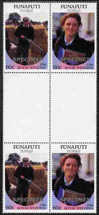 Tuvalu - Funafuti 1986 Royal Wedding (Andrew & Fergie) 60c perf inter-paneau gutter block of 4 (2 se-tenant pairs) overprinted SPECIMEN in silver (Italic caps 26.5 x 3 mm) unmounted mint from Printer's uncut proof sheet