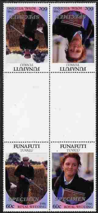 Tuvalu - Funafuti 1986 Royal Wedding (Andrew & Fergie) 60c perf tete-beche inter-paneau gutter block of 4 (2 se-tenant pairs) overprinted SPECIMEN in silver (Italic caps 26.5 x 3 mm) unmounted mint from Printer's uncut proof sheet