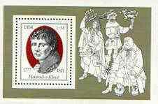 Germany - East 1977 Birth Bicentenary of Heinrich von Kleist (poet) m/sheet unmounted mint, SG MS E1982