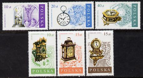 Poland 1988 Clocks & Watches set of 6 unmounted mint (SG 3155-60)*