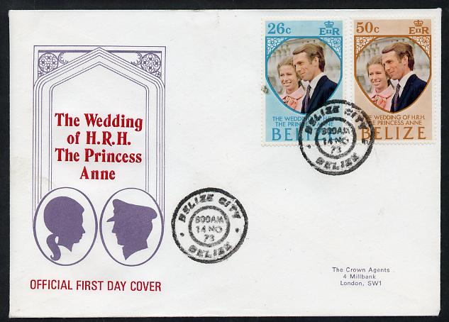 Belize 1973 Royal Wedding set of 2 on illustrated cover with first day cancel