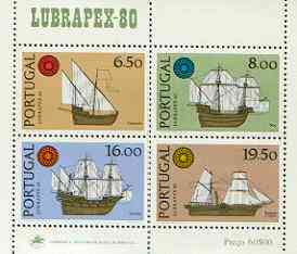 Portugal 1980 'Lubrapex 80' Stamp Exhibition m/sheet (Ships) unmounted mint, SG MS 1815