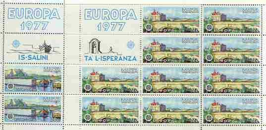 Malta 1977 Europa set of 2 each in sheetlets of 10 plus 2 labels, unmounted mint as SG 584-85