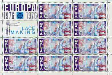 Malta 1976 Europa (Lace Making) sheetlet of 10 plus 2 labels, unmounted mint as SG 562
