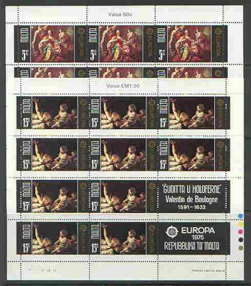 Malta 1975 Europa (Paintings) set of 2 each in sheetlets of 10 plus 2 labels, unmounted mint as SG 543-44