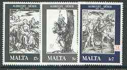 Malta 1978 Death Anniversary of Albrecht Durer set of 3 unmounted mint, SG 596-98*