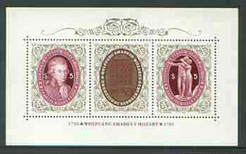 Austria 1991 Death Bicentenary of Mozart perf m/sheet unmounted mint, SG MS 2257