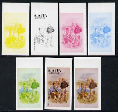Staffa 1977 Sailor's' Uniforms 1p (Sailor 18th Century) set of 7 imperf progressive colour proofs comprising the 4 individual colours plus 2, 3 and all 4-colour composites unmounted mint