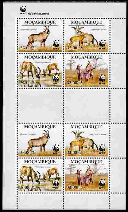 Mozambique 2010 WWF - Antelope Hippotragus equinus perf sheetlet containing 2 x sets of 4 vaues unmounted mint