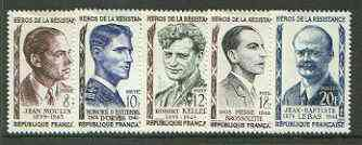 France 1957 Heroes of the Resistance (1st issue) set of 5 unmounted mint, SG 1329-33