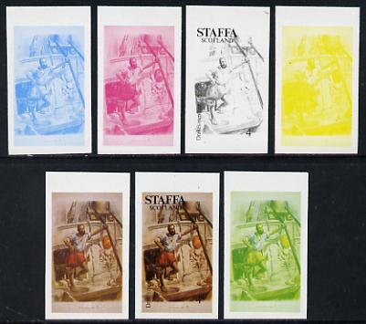 Staffa 1977 Sailor's' Uniforms 4p (Drake\D5s Men 1588) set of 7 imperf progressive colour proofs comprising the 4 individual colours plus 2, 3 and all 4-colour composites unmounted mint