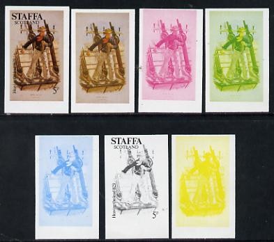 Staffa 1977 Sailor's' Uniforms 5p (Heaving the Lead 1829) set of 7 imperf progressive colour proofs comprising the 4 individual colours plus 2, 3 and all 4-colour composites unmounted mint