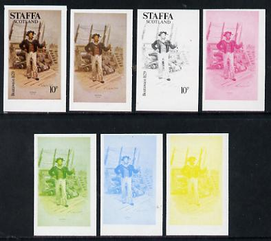 Staffa 1977 Sailor's' Uniforms 10p (Boatswain1829) set of 7 imperf progressive colour proofs comprising the 4 individual colours plus 2, 3 and all 4-colour composites unmounted mint