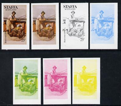 Staffa 1977 Sailor's' Uniforms 25p (Blake\D5s Men 1650) set of 7 imperf progressive colour proofs comprising the 4 individual colours plus 2, 3 and all 4-colour composites unmounted mint