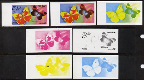 Dhufar 1977 Butterflies 3b (Catopsilia Aveiianeda & Pereute L) set of 7 imperf progressive colour proofs comprising the 4 individual colours plus 2, 3 and all 4-colour composites unmounted mint