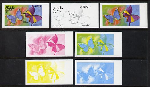 Dhufar 1977 Butterflies 4b (Morpho Anaxibia & Anaea Panariste) set of 7 imperf progressive colour proofs comprising the 4 individual colours plus 2, 3 and all 4-colour composites unmounted mint